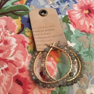 🌿 NWT Anthropologie hoop earrings crystal facet